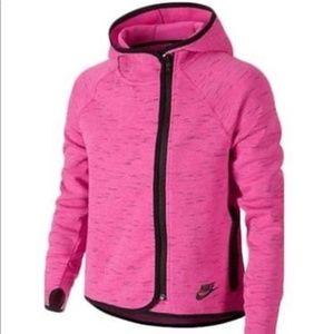 Nike large pink heathered zip-up hooded jacket